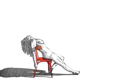Model op Rode Stoel